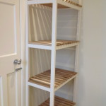 Utility shelving with solid oak slats